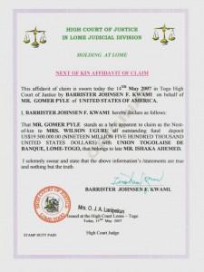 Gomer's certificate